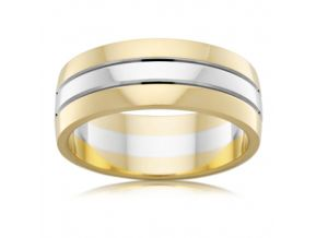 Two Tone Mens Wedding Ring 7.5MM wide
