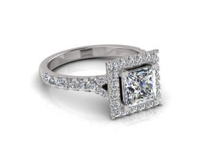 Split Shoulder Halo Princess Cut Ring