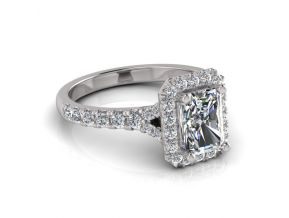 Split Shoulder Halo Emerald Cut Ring