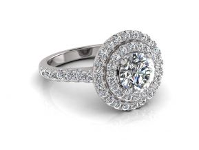 Double Halo Round Cut Ring