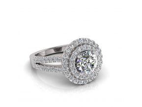 Wide Split Double Halo Round Cut Ring