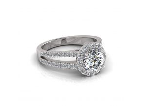 Wide Split Halo Round Cut Ring