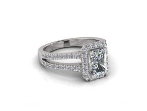 Wide Split Halo Emerald Cut Ring