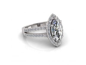 Wide Split Halo Marquise Cut Ring