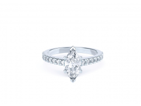 Side-stone Claw Set Marquise Ring