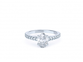 Side-stone Claw Set Oval Ring
